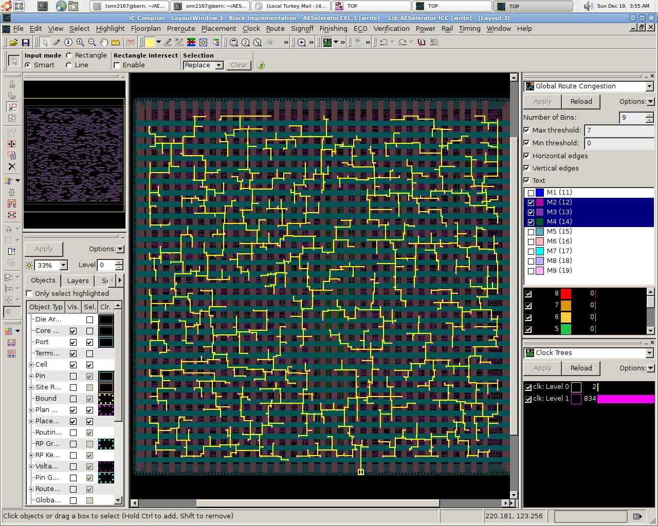 Clock signals in the AESelerator chip